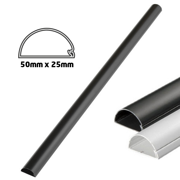 kabelkanal 1m 50x25mm halbrund schwarz kabelkanal elektromaterial haustechnik elektronik. Black Bedroom Furniture Sets. Home Design Ideas